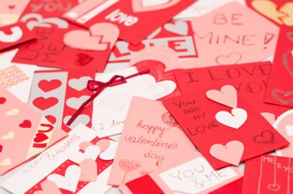 set of handmade valentines cards